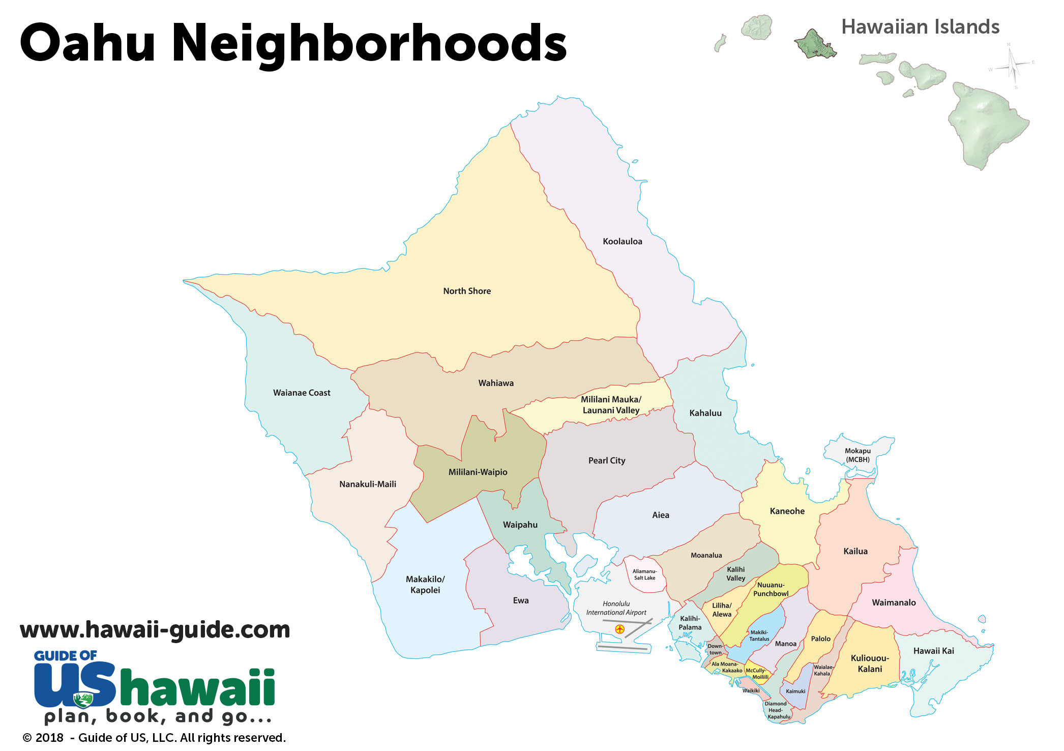 photo relating to Printable Map of Hawaiian Islands titled Oahu Maps